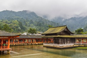 Itsukushima Shrine in the mist